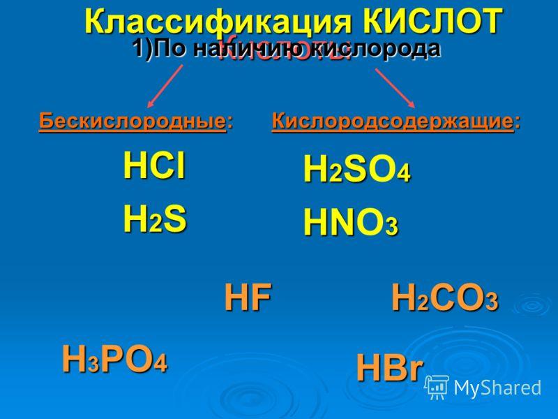 Кислоты HCl H 2 S H 2 S 4 H 2 SO 4 HN 3 HNO 3 Классификация КИСЛОТ Бескислородные: Кислородсодержащие: HBr HF H 2 CO 3 H 3 PO 4 1)По наличию кислорода