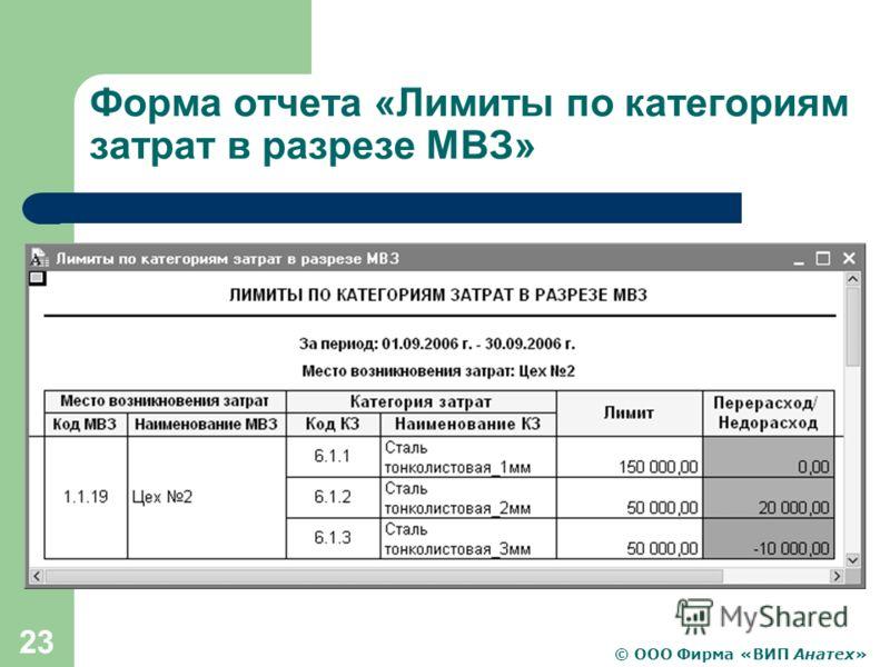 © ООО Фирма «ВИП Анатех» 23 Форма отчета «Лимиты по категориям затрат в разрезе МВЗ»
