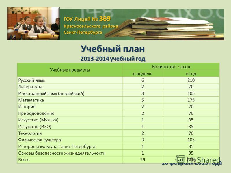 ГОУ Лицей 369 Красносельского района Санкт-Петербурга 16 февраля 2013 года Учебный план 2013-2014 учебный год