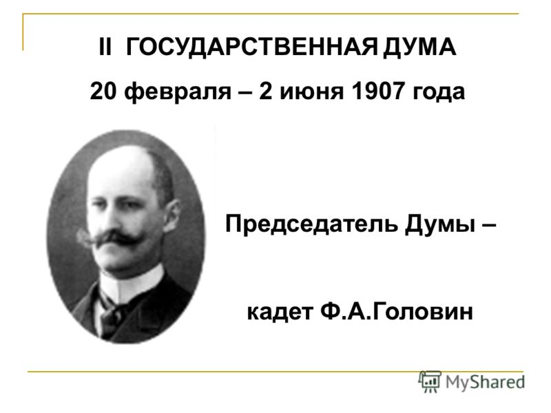 II ГОСУДАРСТВЕННАЯ ДУМА 20 февраля – 2 июня 1907 года Председатель Думы – кадет Ф.А.Головин