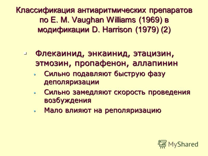 Классификация антиаритмических препаратов по E. M. Vaughan Williams (1969) в модификации D. Harrison (1979) (2) Флекаинид, энкаинид, этацизин, этмозин