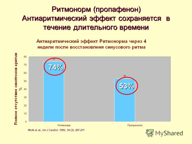 Ритмонорм (пропафенон) Антиаритмический эффект сохраняется в течение длительного времени Wolk et al., Int J Cardiol. 1996; 54 (3): 207-211 74% 53%