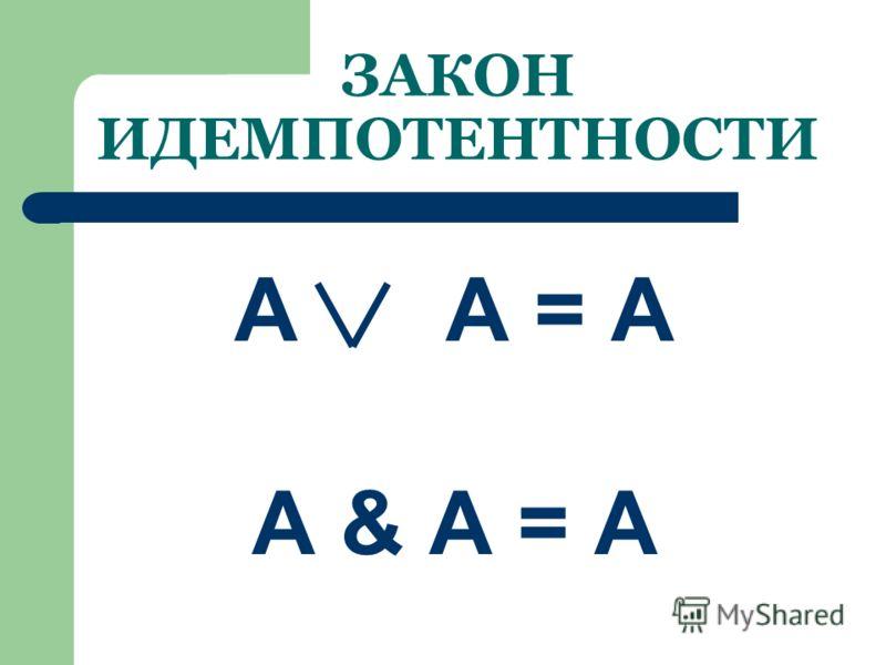 ПРАВИЛО ДИСТРИБУТИВНОСТИ (распределительный закон) В алгебре высказываний можно выносить за скобки как общие множители, так и общие слагаемые. (А&В) (А&С) = А&(В С) (А В)&(А С) = А (В&С)