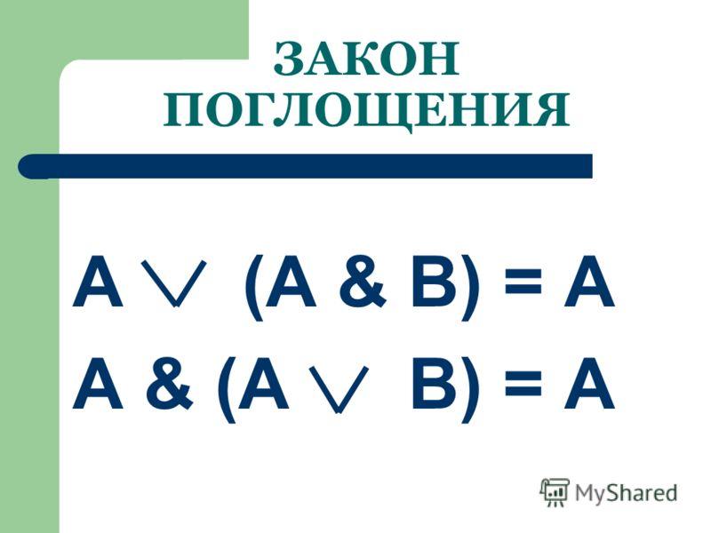 ЗАКОН ИСКЛЮЧЕНИЯ КОНСТАНТ А 1 = 1; А 0 = А А & 1 = А ; А & 0 = 0