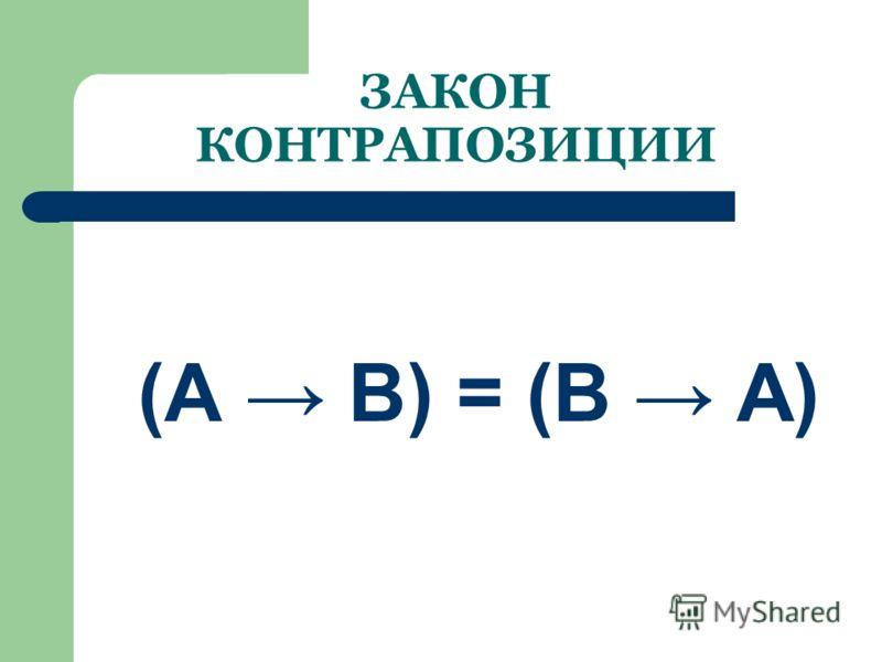 Закон исключения (склеивания) (А & В) (А & В) = В (А В) & (А В) = В