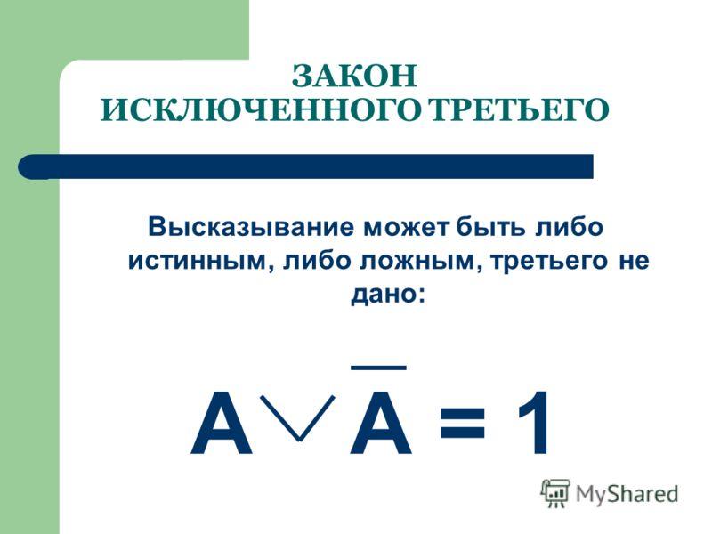 ЗАКОН НЕПРОТИВОРЕЧИЯ Высказывание не может быть одновременно истинным и ложным: А & А = 0