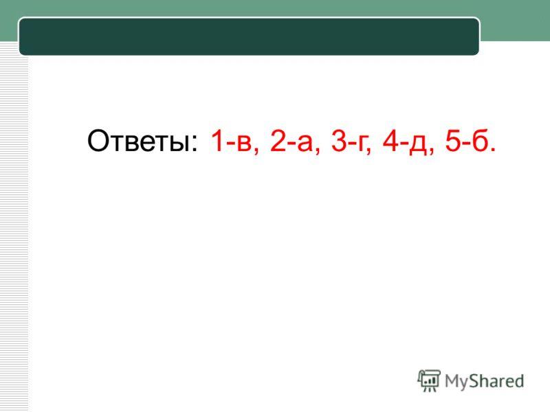 Ответы: 1-в, 2-а, 3-г, 4-д, 5-б.