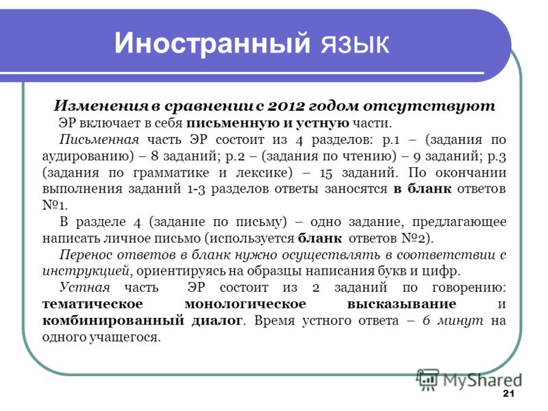 Иностранный язык Изменения в сравнении с 2012 годом отсутствуют ЭР включает в себя письменную и устную части. Письменная часть ЭР состоит из 4 разделов: р.1 – (задания по аудированию) – 8 заданий; р.2 – (задания по чтению) – 9 заданий; р.3 (задания п
