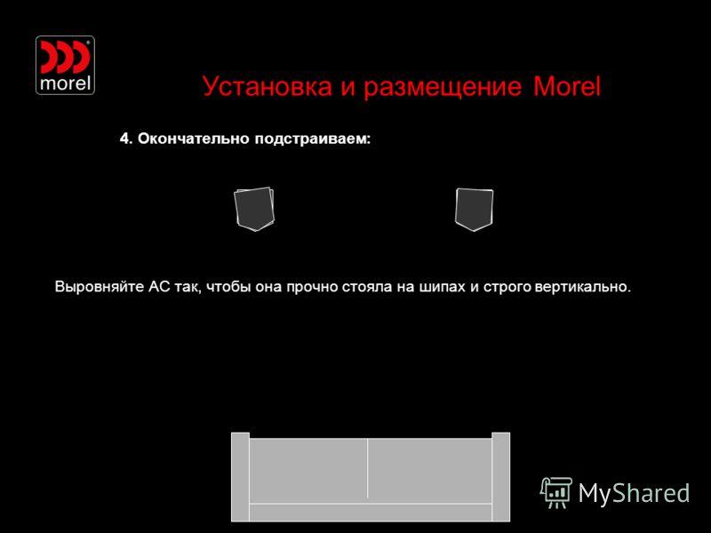 Установка и размещение Morel 4. Окончательно подстраиваем : Выровняйте АС так, чтобы она прочно стояла на шипах и строго вертикально.