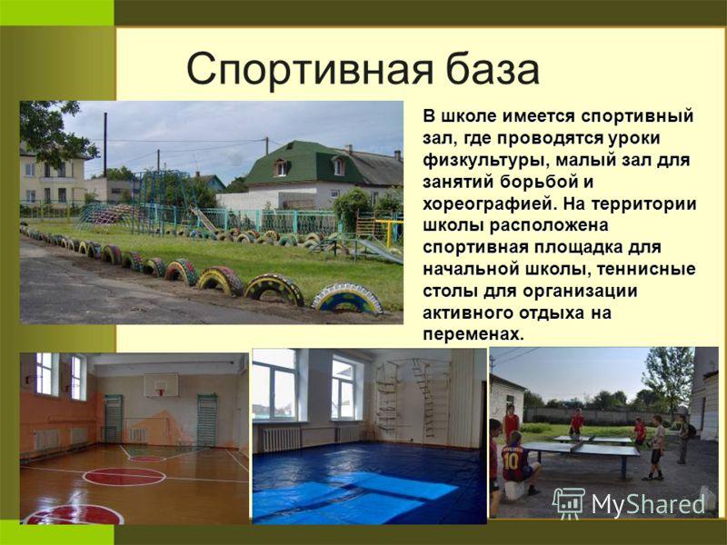Спортивная база В школе имеется спортивный зал, где проводятся уроки физкультуры, малый зал для занятий борьбой и хореографией. На территории школы расположена спортивная площадка для начальной школы, теннисные столы для организации активного отдыха