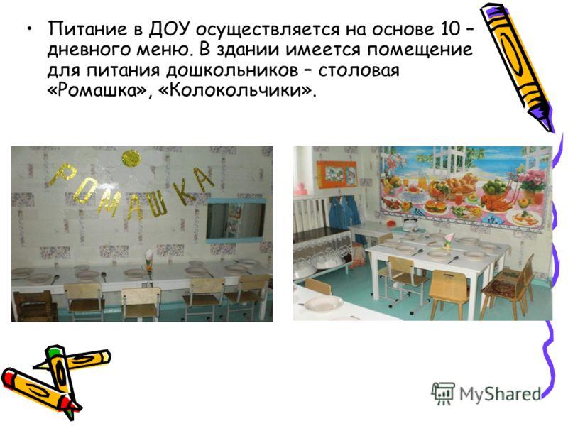 Питание в ДОУ осуществляется на основе 10 – дневного меню. В здании имеется помещение для питания дошкольников – столовая «Ромашка», «Колокольчики».