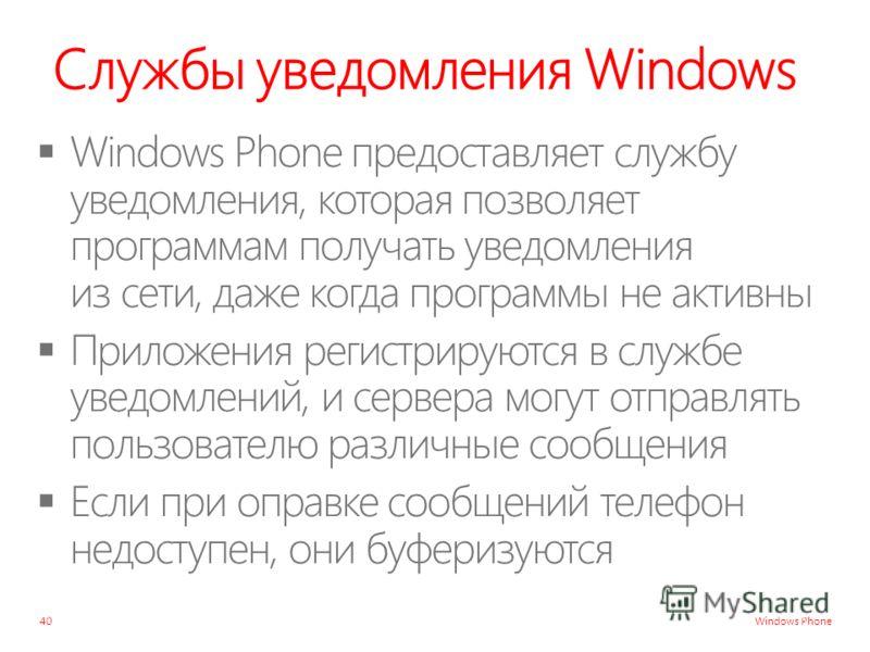 Windows Phone Службы уведомления Windows 40