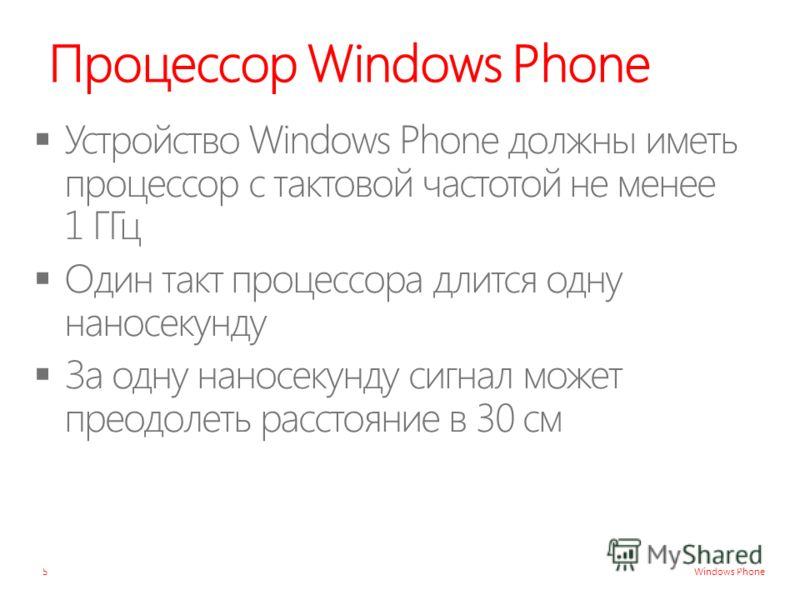 Windows Phone Процессор Windows Phone 5