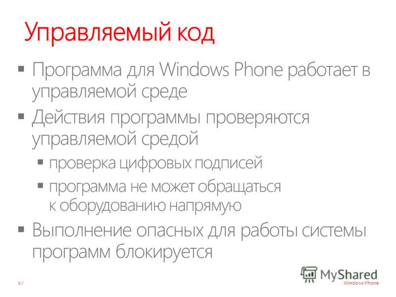Windows Phone Управляемый код 57