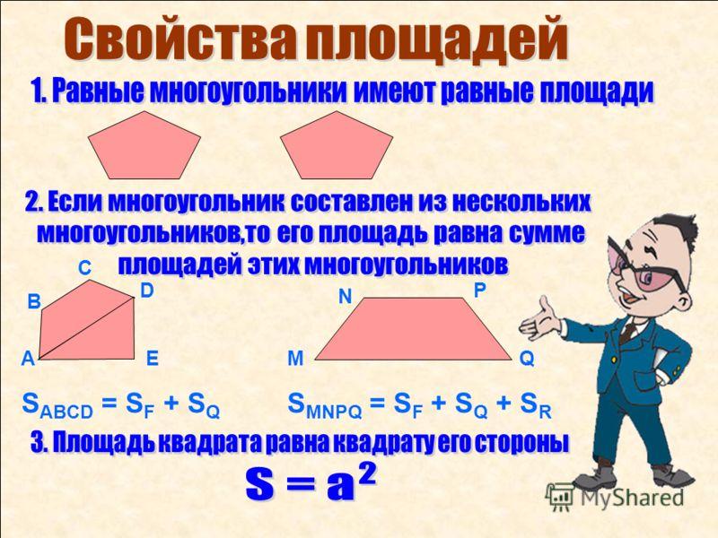 АQ P N МЕ D С В S ABCD = S F + S Q S MNPQ = S F + S Q + S R