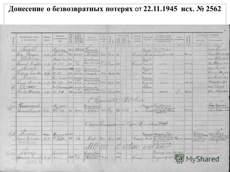 Донесение о безвозвратных потерях от 22.11.1945 исх. 2562