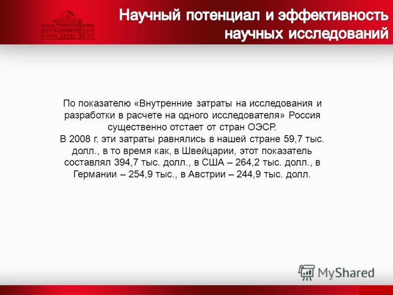 По показателю «Внутренние затраты на исследования и разработки в расчете на одного исследователя» Россия существенно отстает от стран ОЭСР. В 2008 г. эти затраты равнялись в нашей стране 59,7 тыс. долл., в то время как, в Швейцарии, этот показатель с
