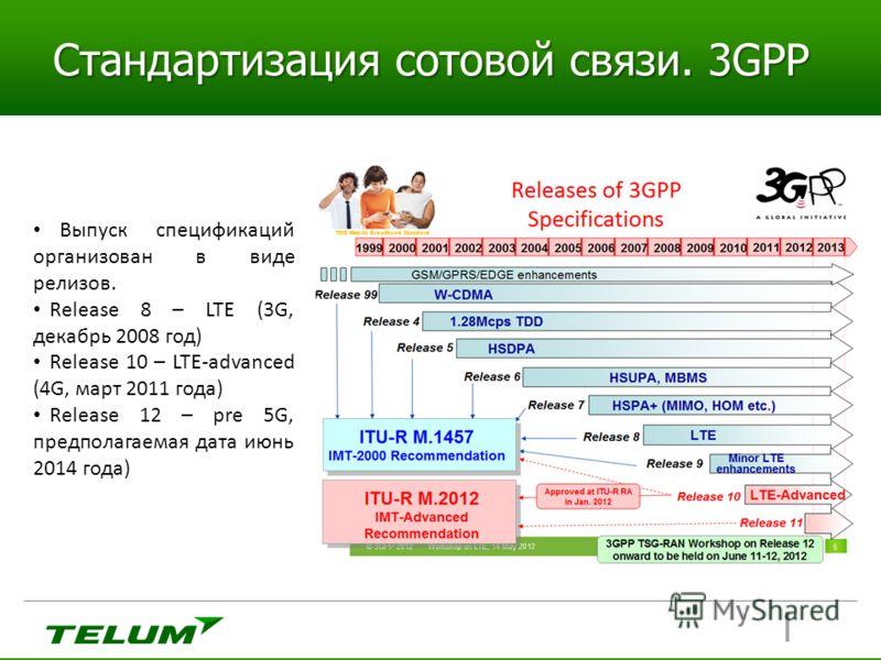 Стандартизация сотовой связи. 3GPP Выпуск спецификаций организован в виде релизов. Release 8 – LTE (3G, декабрь 2008 год) Release 10 – LTE-advanced (4G, март 2011 года) Release 12 – pre 5G, предполагаемая дата июнь 2014 года)