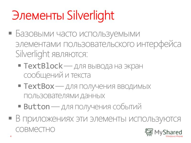 Windows Phone Элементы Silverlight 4