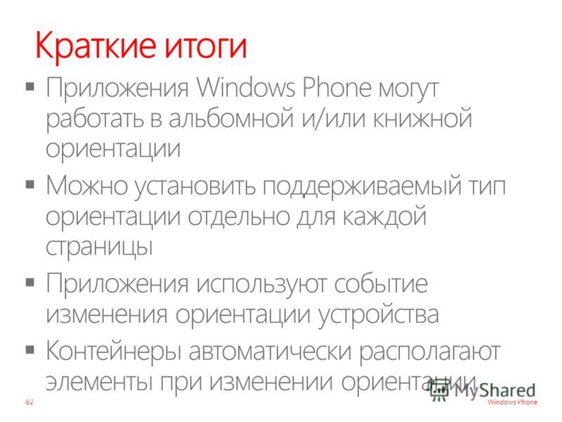 Windows Phone Краткие итоги 62
