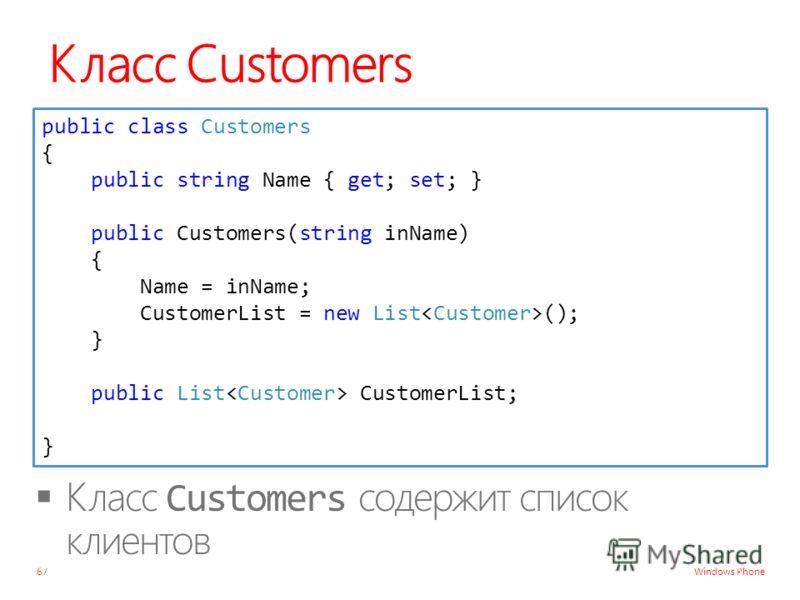 Windows Phone Класс Customers 67 public class Customers { public string Name { get; set; } public Customers(string inName) { Name = inName; CustomerList = new List (); } public List CustomerList; }