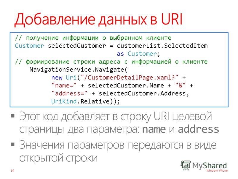 Windows Phone Добавление данных в URI 94 // получение информации о выбранном клиенте Customer selectedCustomer = customerList.SelectedItem as Customer; // формирование строки адреса с информацией о клиенте NavigationService.Navigate( new Uri(