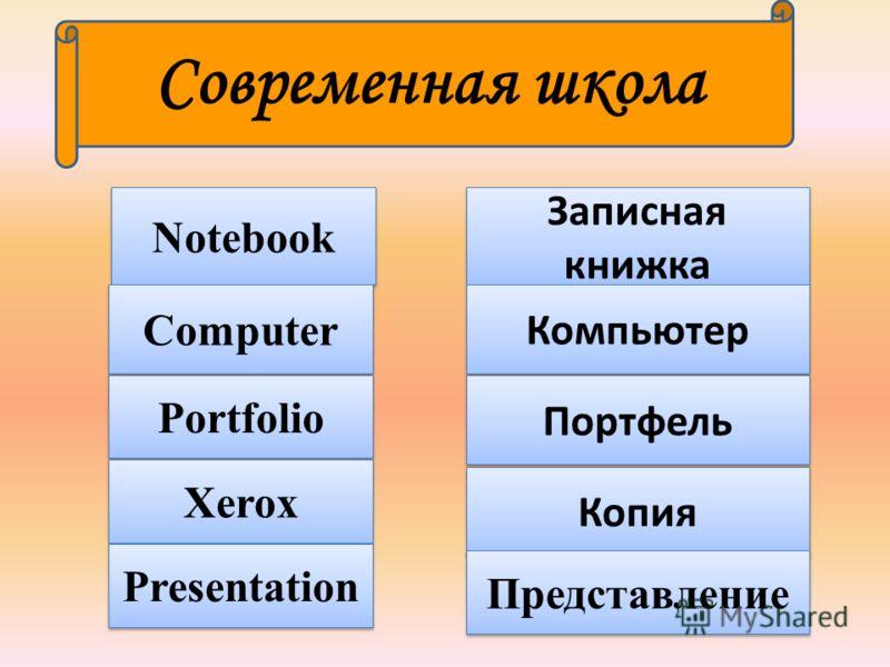 Notebook Computer Portfolio Записная книжка Компьютер Портфель Xerox Копия Современная школа Presentation Представление