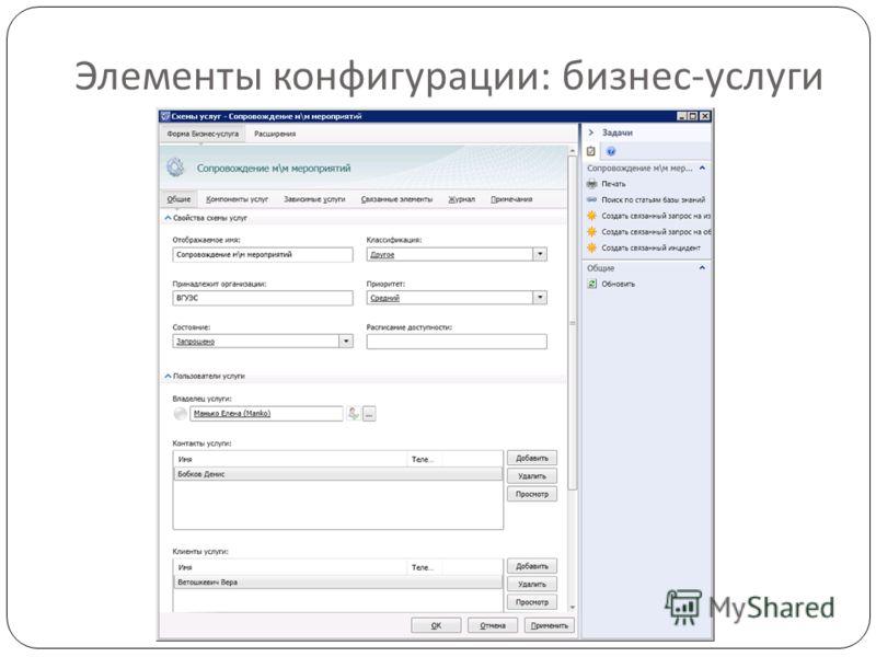 Элементы конфигурации : бизнес - услуги