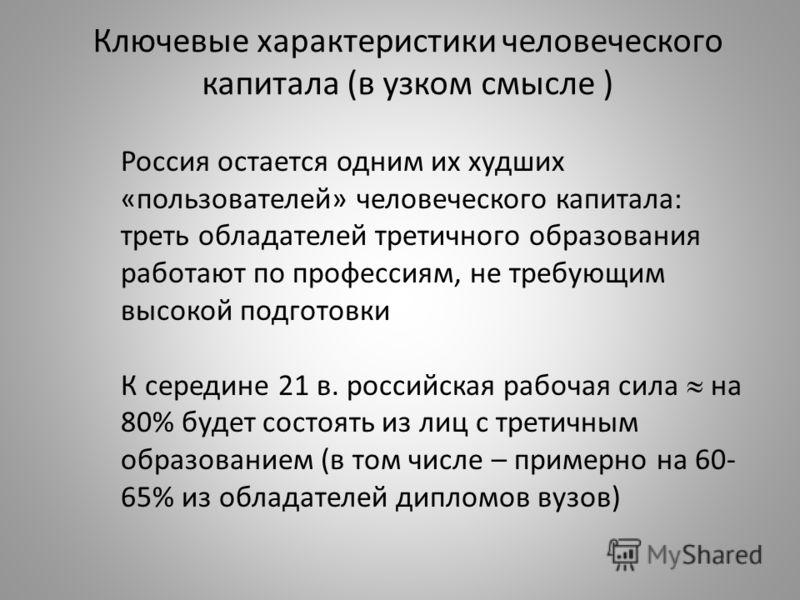 Ключевые характеристики человеческого капитала (в узком смысле ) Россия остается одним их худших «пользователей» человеческого капитала: треть обладателей третичного образования работают по профессиям, не требующим высокой подготовки К середине 21 в.