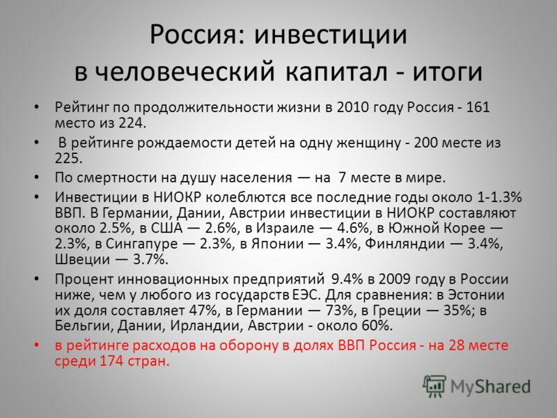 Россия: инвестиции в человеческий капитал - итоги Рейтинг по продолжительности жизни в 2010 году Россия - 161 место из 224. В рейтинге рождаемости детей на одну женщину - 200 месте из 225. По смертности на душу населения на 7 месте в мире. Инвестиции