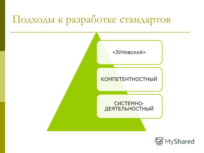 Подходы к разработке стандартов «ЗУНовский»КОМПЕТЕНТНОСТНЫЙ СИСТЕМНО- ДЕЯТЕЛЬНОСТНЫЙ