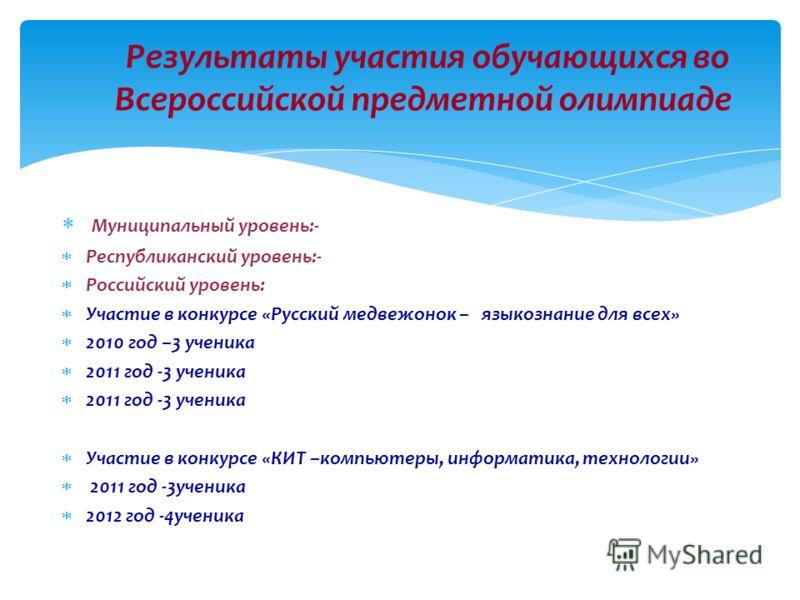 Муниципальный уровень:- Республиканский уровень:- Российский уровень: Участие в конкурсе «Русский медвежонок – языкознание для всех» 2010 год –3 ученика 2011 год -3 ученика Участие в конкурсе «КИТ –компьютеры, информатика, технологии» 2011 год -3учен