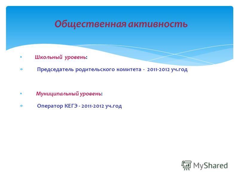 Школьный уровень: Председатель родительского комитета - 2011-2012 уч.год Муниципальный уровень: Оператор КЕГЭ - 2011-2012 уч.год Общественная активность