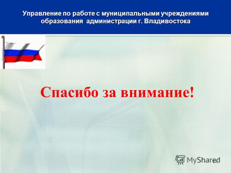 Управление по работе с муниципальными учреждениями образования администрации г. Владивостока Спасибо за внимание! 10