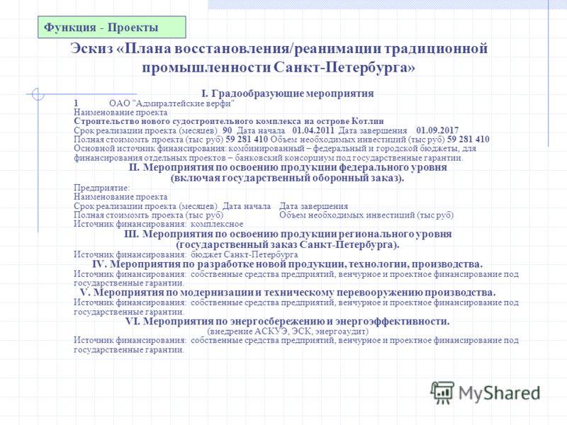 Эскиз «Плана восстановления/реанимации традиционной промышленности Санкт-Петербурга» I. Градообразующие мероприятия 1ОАО