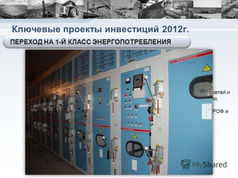 Ключевые проекты инвестиций 2012г. Реализация проекта позволит: оптимизировать загрузку существующих сетей и снизить затраты на оплату электроэнергии. Перевести производственные мощности РОФ и УДТК на 1-й класс энергопотребления Инвестиции в 2012г. с