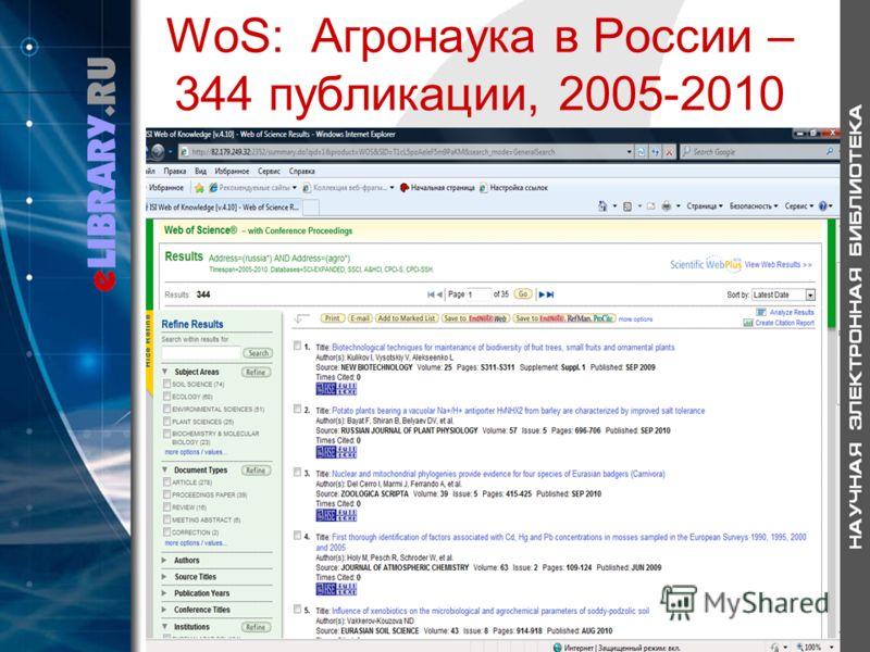 WoS: Агронаука в России – 344 публикации, 2005-2010