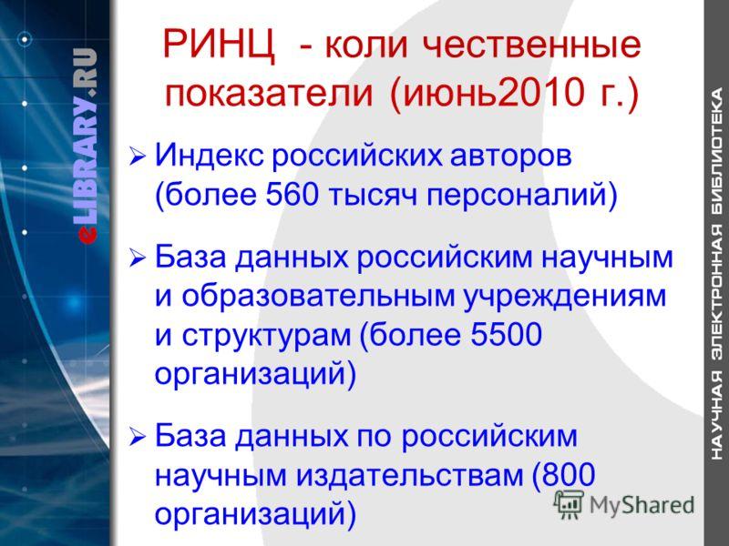 РИНЦ - коли чественные показатели (июнь2010 г.) Индекс российских авторов (более 560 тысяч персоналий) База данных российским научным и образовательным учреждениям и структурам (более 5500 организаций) База данных по российским научным издательствам