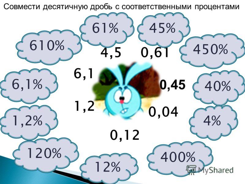 120% 4,5 6,1 1,2 0,12 0,04 0,45 0,61 12% 1,2% 40% 4% 400% 61%45% 450% 610% 6,1% Совмести десятичную дробь с соответственными процентами
