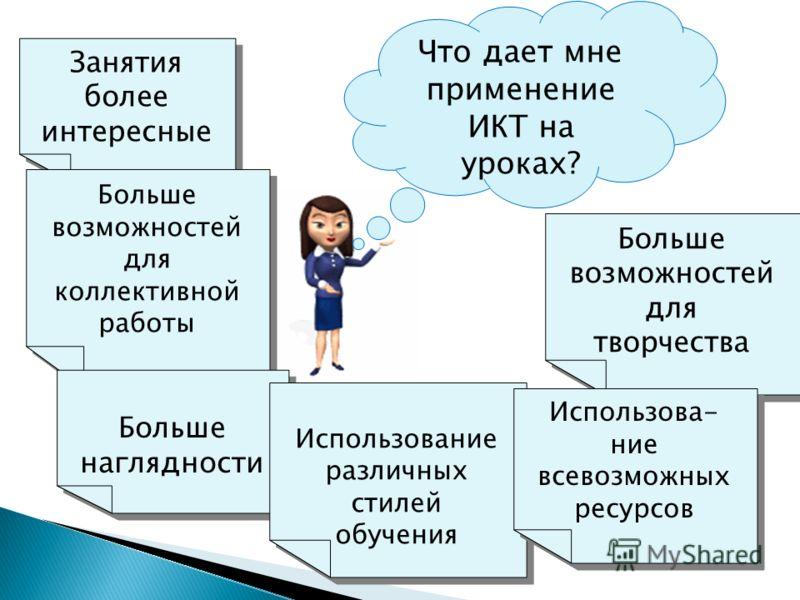 Что дает мне применение ИКТ на уроках? Занятия более интересные Больше возможностей для коллективной работы Больше возможностей для творчества Больше наглядности Использование различных стилей обучения Использова- ние всевозможных ресурсов