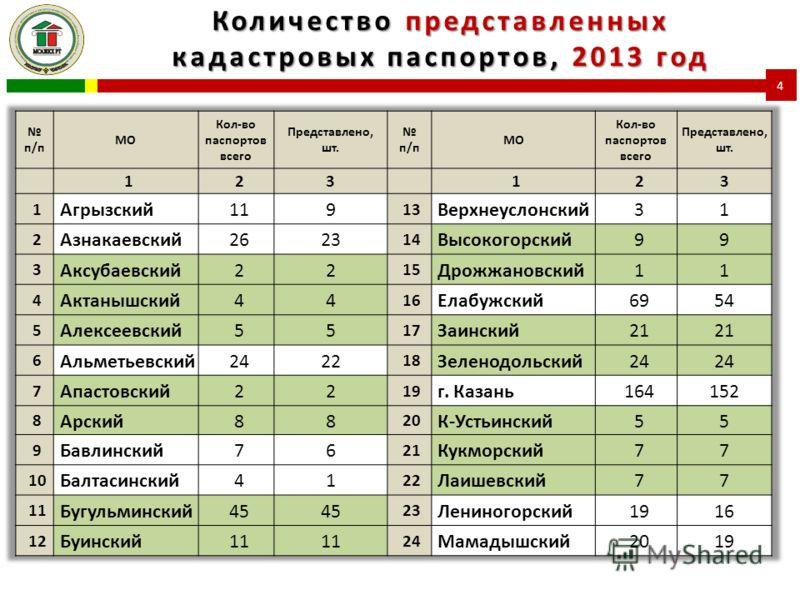 Количество представленных кадастровых паспортов, 2013 год 4
