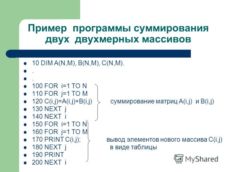 Пример программы суммирования двух двухмерных массивов 10 DIM A(N,M), B(N,M), C(N,M)... 100 FOR i=1 ТO N 110 FOR j=1 TO M 120 C(i,j)=A(i,j)+B(i,j) суммирование матриц A(i,j) и B(i,j) 130 NEXT j 140 NEXT i 150 FOR i=1 ТO N 160 FOR j=1 TO M 170 PRINT C