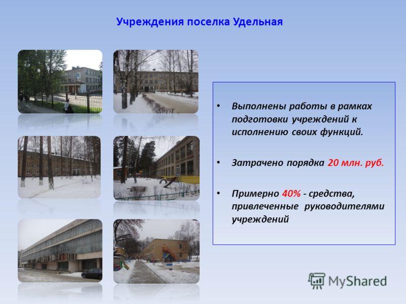 Учреждения поселка Удельная Выполнены работы в рамках подготовки учреждений к исполнению своих функций. Затрачено порядка 20 млн. руб. Примерно 40% - средства, привлеченные руководителями учреждений