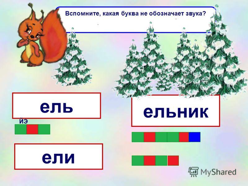 Вспомните, какая буква не обозначает звука? ельник ель ели ЙЭ