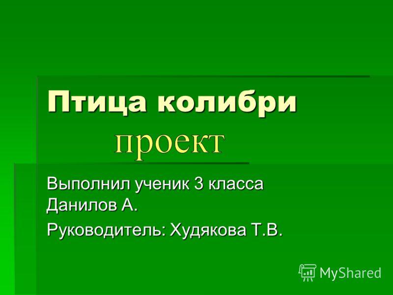 Птица колибри Выполнил ученик 3 класса Данилов А. Руководитель: Худякова Т.В.