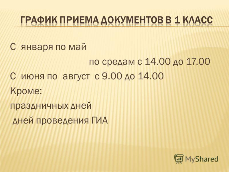 С января по май по средам с 14.00 до 17.00 С июня по август с 9.00 до 14.00 Кроме: праздничных дней дней проведения ГИА