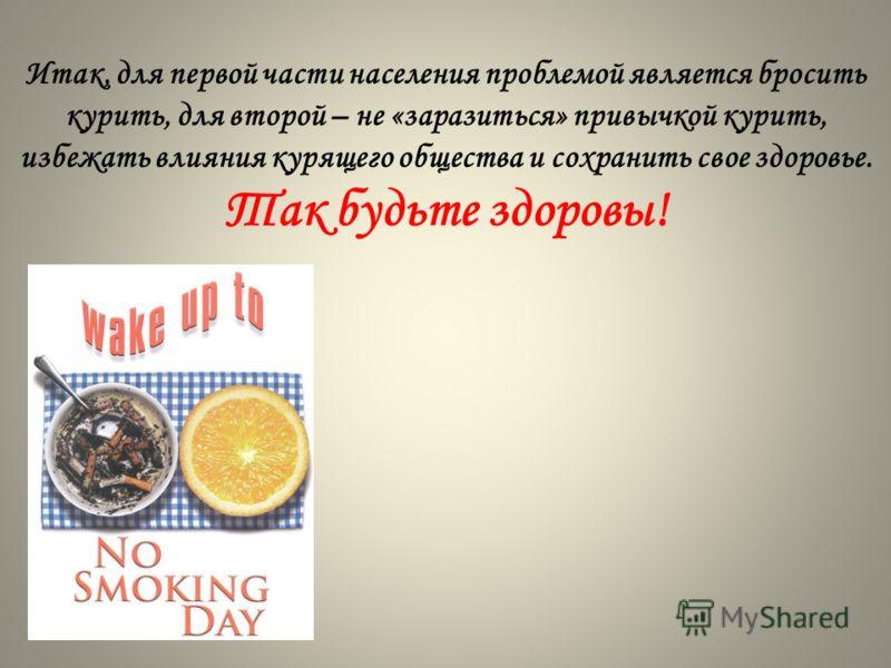 Итак, для первой части населения проблемой является бросить курить, для второй – не «заразиться» привычкой курить, избежать влияния курящего общества и сохранить свое здоровье. Так будьте здоровы!