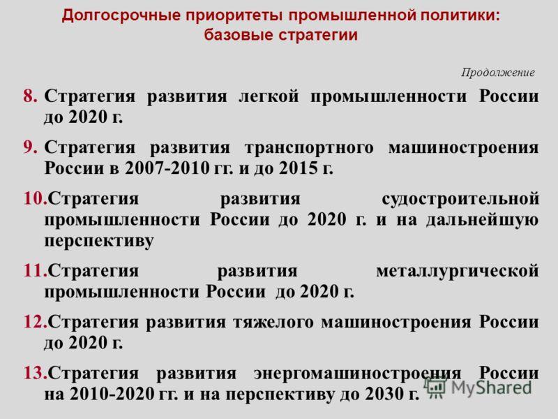 Долгосрочные приоритеты промышленной политики: базовые стратегии 8.Стратегия развития легкой промышленности России до 2020 г. 9.Стратегия развития транспортного машиностроения России в 2007-2010 гг. и до 2015 г. 10.Стратегия развития судостроительной