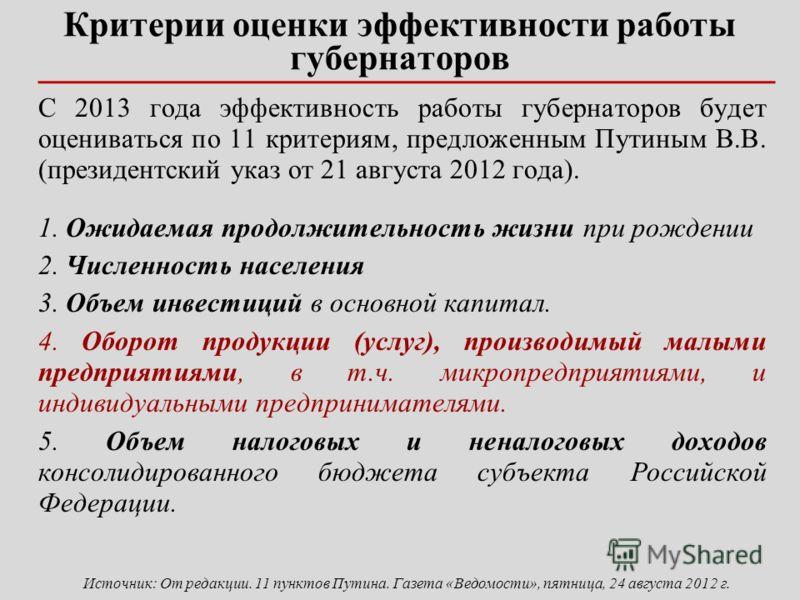 Критерии оценки эффективности работы губернаторов С 2013 года эффективность работы губернаторов будет оцениваться по 11 критериям, предложенным Путиным В.В. (президентский указ от 21 августа 2012 года). 1. Ожидаемая продолжительность жизни при рожден