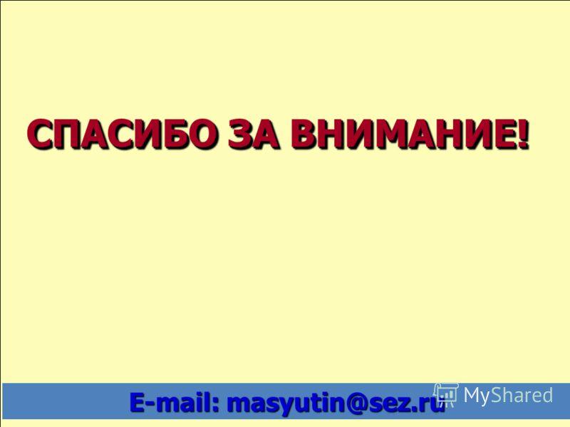 СПАСИБО ЗА ВНИМАНИЕ! E-mail: mаsyutin@sez.ru